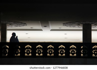 A woman is carrying out sunnah prayers at the sabilal muhtadin banjarmasin mosque, South Kalimantan, Indonesia on July 19, 2012.