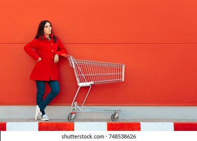 Woman with Cart Ready for Shopping Spree on Sale Season - Beautiful casual shopper girl going to the store