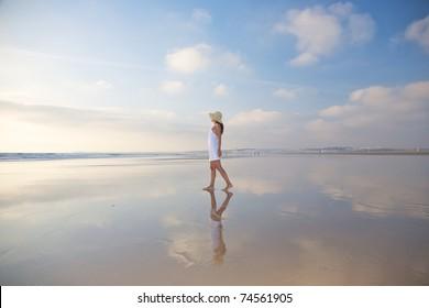 woman at Castilnovo Beach in Cadiz Andalusia Spain