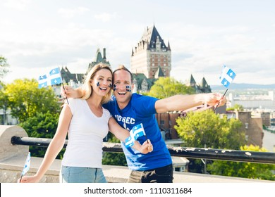 Woman celebrates the national holiday in quebec city