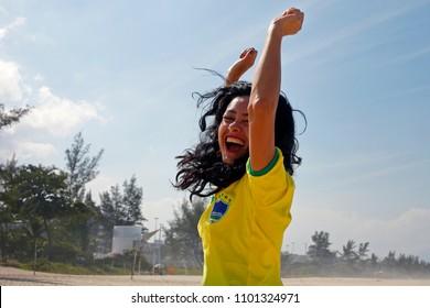 Woman celebrating goal in soccer
