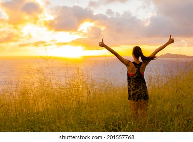 Woman celebrating her goals. Sport and active life concept.
