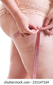 Woman with cellulite in the thighs underwear measuring volume, fragment