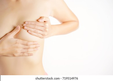 Woman Checking Her Breast, Breast Self-Exam (BSE), How do I check breast concept, Breast Cancer Awareness