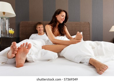 woman checking her feet - good morning