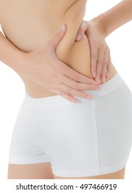 Woman checks and pinching Excess fat on her flank seems like to be fat, overweight concept, Isolated on white background.