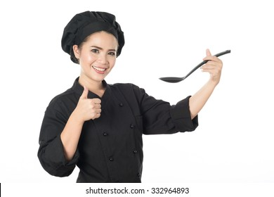 Woman chef bakery black shirt on white