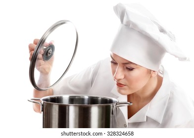 Woman chef cook with pot. Isolated on a white background