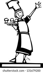 Woman chef holding a tray of three cupcakes.