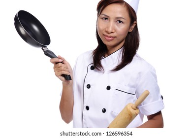Woman chef isolated on white background