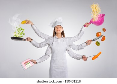 Woman chef pointing empty blank copy space isolated on white / Young woman with multiple arms
