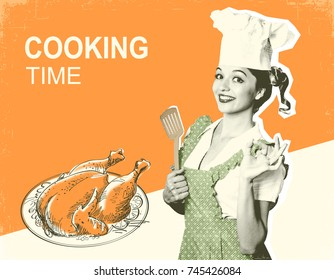 Woman chef and roasted chicken.Retro poster on old paper background with text