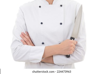 woman in chef uniform holding knife isolated on white background