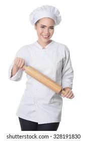 Woman Chef white shirt white background