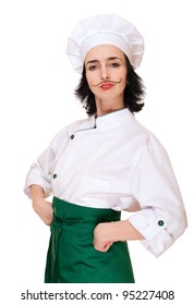 Woman in chef's costume with painted mustaches isolated on white