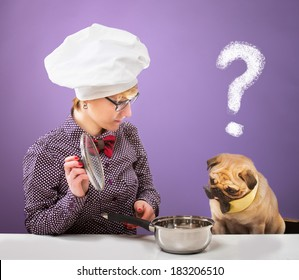 Woman in chef's hat and her dog looking at a pot with a quizzical expression, purple background