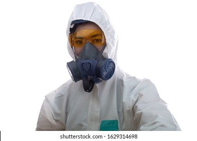 Woman in chemical protective clothing and half mask replaceable particulate filter respirator  with glasses at white background, Safety virus infection concept