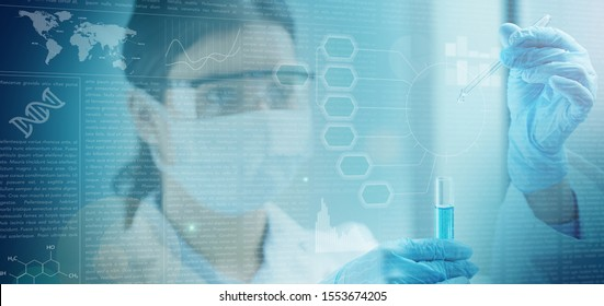 woman chemist holding a test tube behind a blue screen