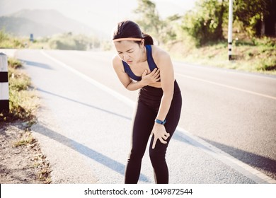 Woman chest pain while jogging