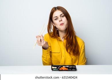 A woman chews food