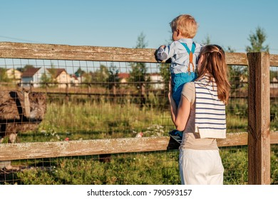 Woman and child at farm looking at ostrich. Family lifestyle rural scene of mother and son resting together.