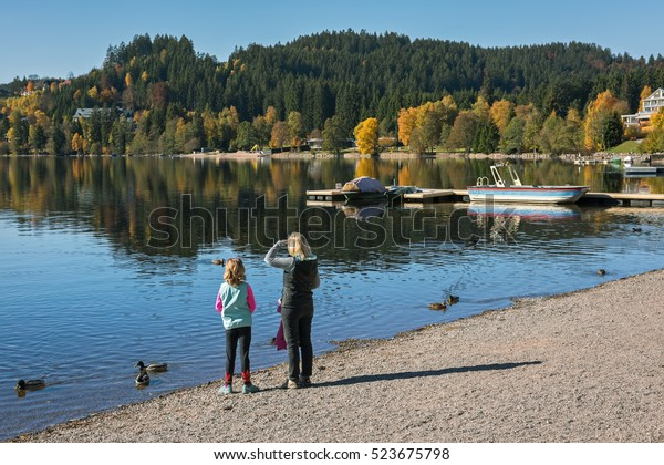 Woman Child On Shore Titisee Lake Stock Photo Edit Now 523675798