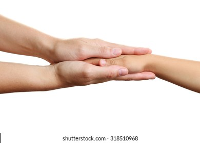 Woman and children hand on the white background