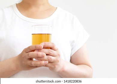 Woman with chilled barley tea