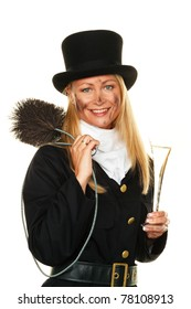 Woman as a chimney sweep. Lucky New Year's Eve and New Year.