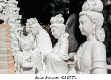 woman chinese staute in temple bangkok thailand