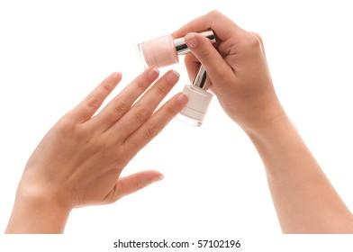 Woman choose the color of nail polish