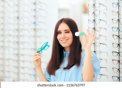 Woman Choosing Between Glasses and Contact Lenses in Optics Shop. Eye care specialist recommending alternatives to glasses