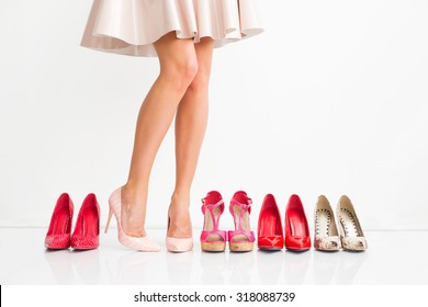 Woman choosing right shoes
