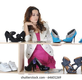 woman choosing shoes at a store