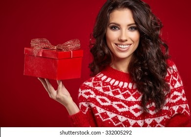 Woman with christmas box gift