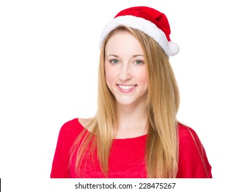 Woman with Christmas hat
