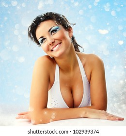 woman christmas young beautiful sexy smiling over nature background