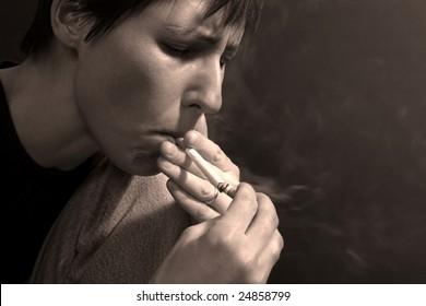 woman and cigarette