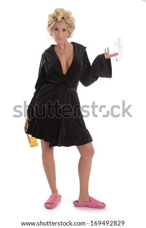 Woman Cigarette Liquor Bottle Bath Robe Stock Photo (Edit Now ... 3693a8f3b