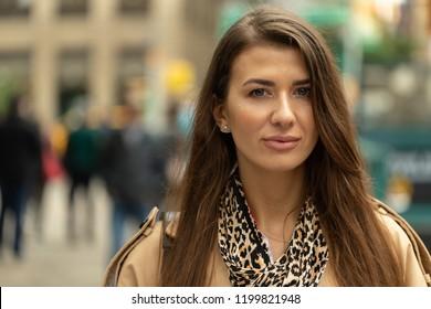 Woman in city serious face portrait
