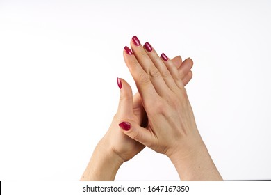 Woman clapping hands, applause isolated on white.
