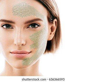Woman clay face mask peeling beauty portrait