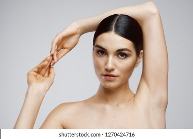 Woman clean armpits hair removal