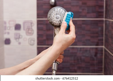 Woman cleaning an calcified shower head in domestic bathroom with small brush.