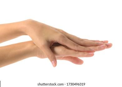 白い背景に女性が手を洗い、アルコールを使ってゲル状にし、細菌 – ウイルス – 伝染病 – コビド–19とコロナウイルス – を防ぐ