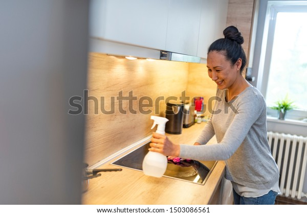 Woman Cleaning House Beautiful Mature Asian Stock Photo Edit Now