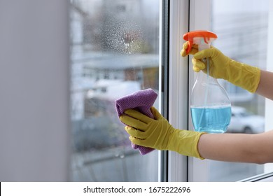 Woman cleaning window at home, closeup. Household chores