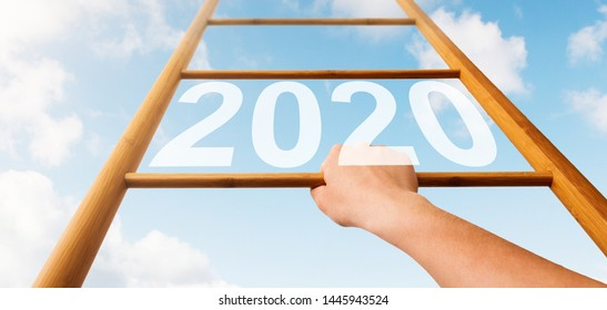 Woman Climbing to 2020 Year, Achieving Goals Concept, Wooden Ladder over Blue Sky