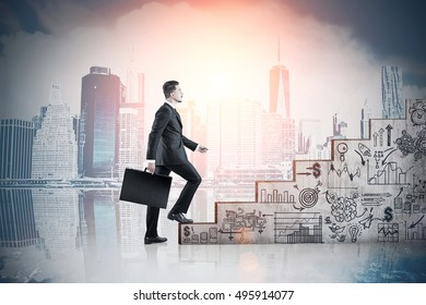 Woman climbing stairs with startup icons against cityscape with skyscrapers. Concept of career ladder. Toned image