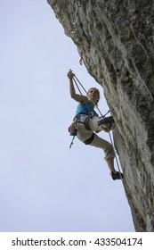 woman climbing in styria,austria